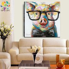 hand painted modern designed funny animal oil paiting clever smart pig with glasses ideas wall canvas art cheap home decor gift