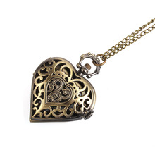 A036 Retro Bronze Alloy Hollow Out Heart Pocket Necklace Watch Gift Unisex men women watch wholesale