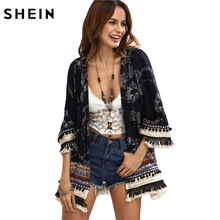 SHEIN Casual Womens Tops for Summer Ladies Three Quarter Length Sleeve Multicolor Print Fringe Pom-pom Decorated Kimono(China)