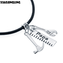 XIAOJINGLING Handmade Father's Jewellery Men Accessory Papa Wrench Ruler Hammer Charms Pendant Choker Necklace Father's Day Gift