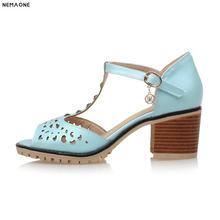 NEMAONE T-strap Women Sandals 6cm Thick Heel Sandals Summer dress Shoes  Woman ladies work shoes white pink blue 2ba1d3aaf976