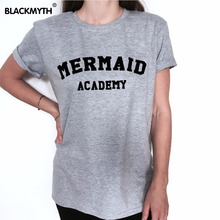 Fashion Summer Style Tee Shirts MERMAID ACADEMY Letter Print Short Sleeves T Shirt Women Casual Tops Black White(China)