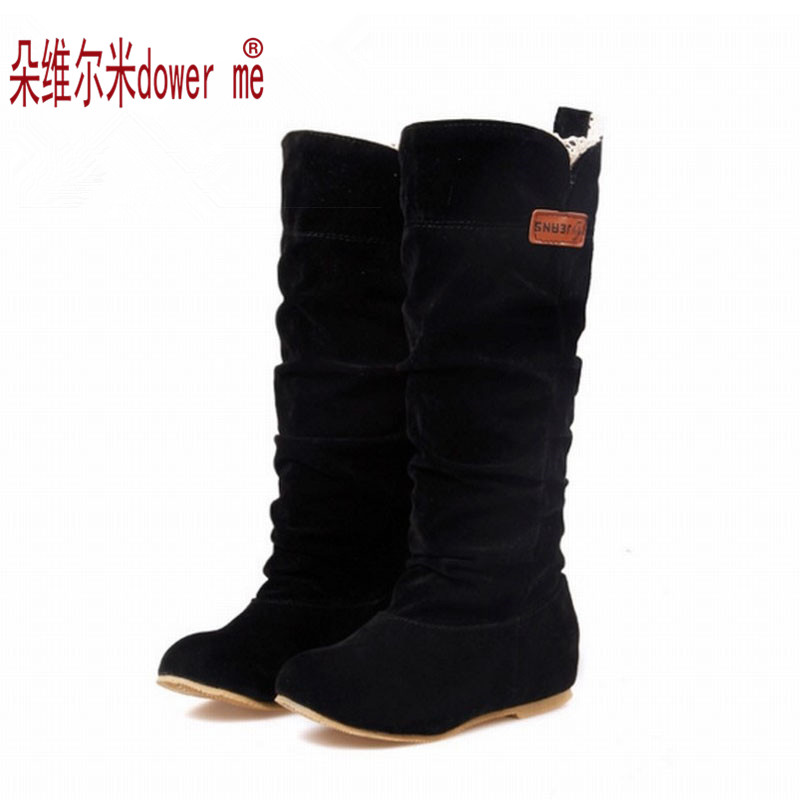 2017 Big Size Spring/Autumn hidden wedge Flock boots Fashion Flat Mid-calf women boots casual shoes sweet lace snow boots<br><br>Aliexpress