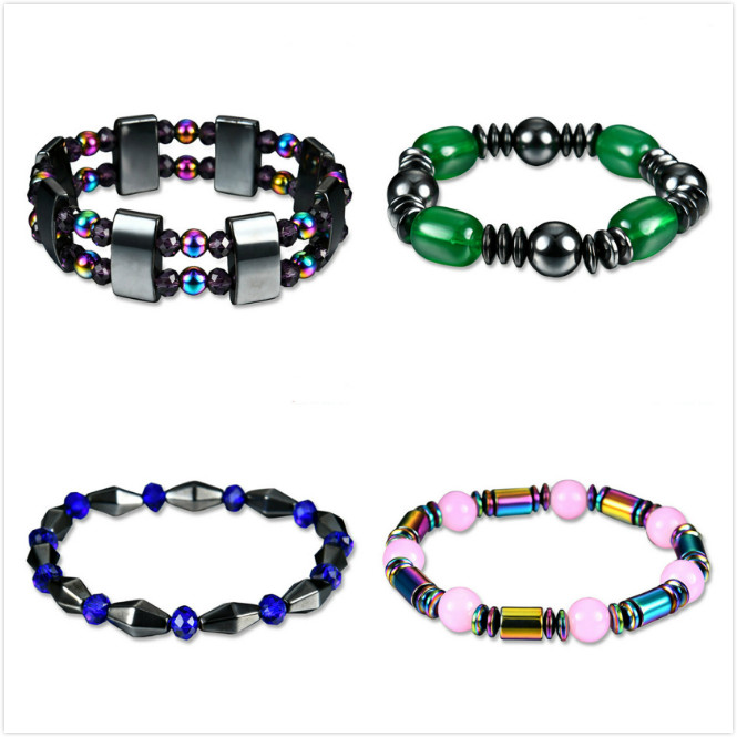 4 Style Fashion Weight Loss Round Black Stone Magnetic Therapy Bracelet Health Care Luxury Slimming Product