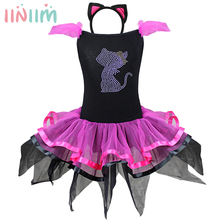 iiniim Kids Baby Girls Beading Cat Tutu Dress with Ear Headband Carnival Party Fancy Costume Ballet Stage Performance Dancewear