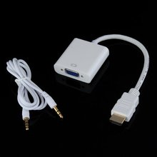 CES-HDMI Male to VGA Female Converter Cable + Audio Cable White PC Laptop