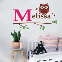 Free shipping personalized name owl wall decal , Girl owl with initial and name on a branch vinyl wall decal stickers,c2004(China)