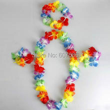 80 Sets Hawaiian Set Flower Lei Fower Bracelet Flower Headband, Hula Luau Set Fancy Dress For Party Dancing Kids Free Shipping(China)