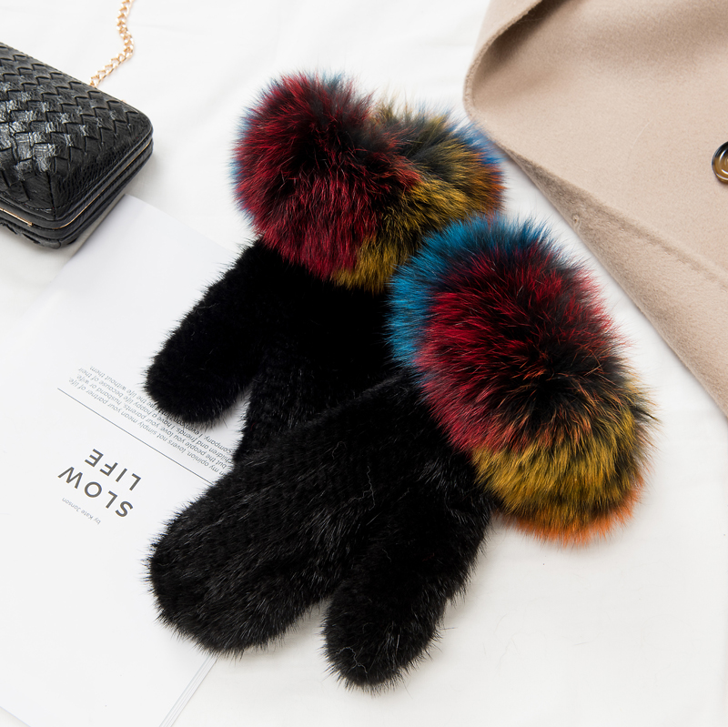 ZDFURS * Brand fashion Winter women gloves genuine 100% real mink fur glove knitted mittens thick warm fur Gloves & Mittens