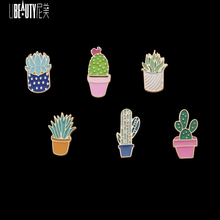 3-6pcs Cartoon Cactus Enamel Pins Brooch Set Clothes Badges Backpack Beautify Package Clothing Plan Potted Decorative Brooches