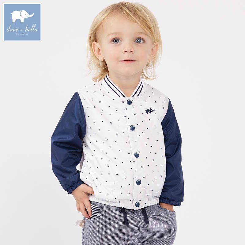DBZ7598 dave bella spring infant baby boys fashion coat kids toddler star print coats children hight quality clothes <br>