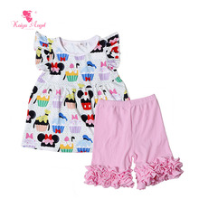 Kaiya Angel 2017 Boutique Kids Clothing Mini T Shirts Pink Shorts Ruffles 2 Piece Suit Summer Hot Sale Outfits Children Clothes(China)