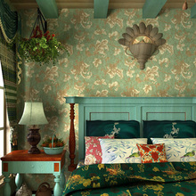American rural idyll wallpaper sitting  bedroom Europe type restoring ancient ways green leaf Chinese trumpet creeper wallpaper