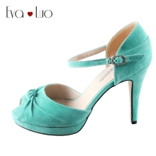 CHS454 DHL Express Custom Handmade Turquoise Suede Bridal Wedding Shoes Big Size SWomen Shoes High Heels Dress Pumps