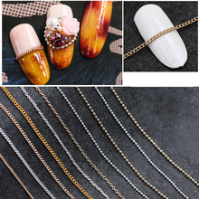 20 Style Gold Silver Nail Art Metal Chains 30cm Rock Punk 3d Decorations 0.5mm 1mm 1.2mm Manicure Jewelry Diy Nail Accessory New(China)