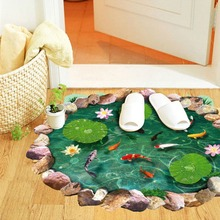 3d lotus fish water pool through the floor stickers room decor 9260. home decals pvc pastoral mural wall art pastoral poster(China)