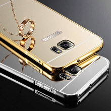 Mirror Case For Samsung galaxy S6 S6 Edge Fashion Gold Silver Aluminum Coque + PC Phone Cover For Samsung S6 Cases aksesuar cas
