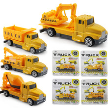 Children Construction Car Toy 1:60 Alloy Car Model High Quality A Set Of Cars Toy Kid Excavator Truck Crane Cement Tank(China)