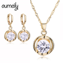 OUMEILY Fashion Jewelry Sets Copper Necklace Drop Earrings For Women Imitation Crystal Pendant Bridal Wedding Dress Accessories
