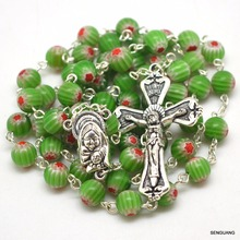 catholic charm glazed Lampwork art glass beads rosary religious multicolor round rosary christian Madonna holy rosary(China)