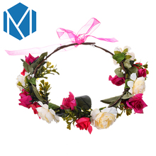 M MISM Bride Flower Garland Wreath Ribbon Bow Knot Hair bands for Women Girls Bridal Headband Hair Accessories Wedding(China)