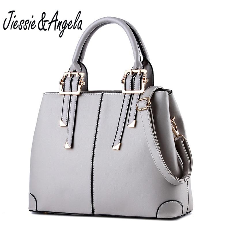 Jiessie &amp; Angela luxury Brand Designer Ladies Handbag Leather Fashion Bag Casual Tote Bag Women Shoulder Purse sac a main<br>