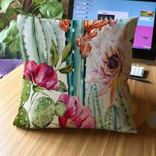 45*45 Cm Home Decorative Tropical Plant Potted Cactus Printing Soft Short Plush Throw Pillow Cushion For Office Chair