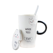 Cute cat coffee mug ceramic tea cup couples drinkware with spoon cover