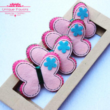 12pcs Kawaii Non Woven Butterfly Appliques Sweet Pink Felt Fabric Butterfly Patches Headband Patches DIY Craft Accessories
