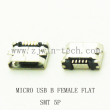 10pcs/lot 5Pin  Micro USB 5pin long pin SMD Female connector for mobile phone Mini USB jack PCB welding socket FLAT MOUTH