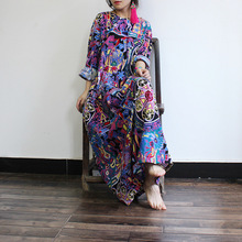 2016 Autumn Women New national wind Printing Loose Dresses Ladies Colorful Plus Size Retro Flower Print Dress Robes Fall Dress