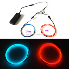 1Meter 2pieces 1.3mm Car Party decorative Led Neon thread light with 2AA 3V EL driver Flexible Neon Light EL Wire Rope Tube(China)