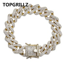TOPGRILLZ Link-Chain Bracelet Jewelry Cubic-Zircon Cuban Iced-Out Hip-Hop/punk Personality