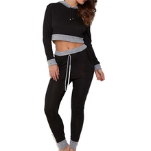 2017 women spring hoodies set female crop top two piece sporting tracksuit ladies long pant black casual suit clothing