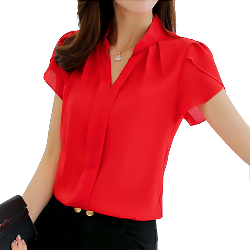 2018 Women Shirt Chiffon Blusas Femininas Tops Short Sleeve Elegant Ladies Formal Office Blouse Plus Size Chiffon Shirt clothing(China)