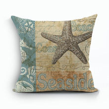 Retro Style European Retro Style Marine Biology Cushion Cover Sea Conch Shell House Pillow Case Linen Cotton Pillows Covers