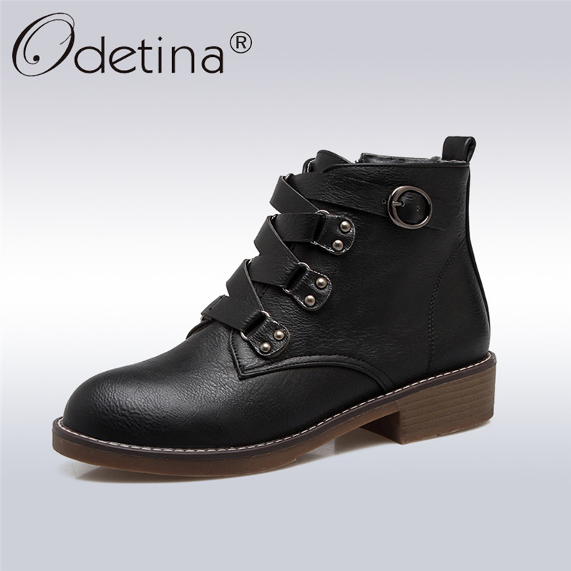 Odetina 2018 New Fashion Women Ankle Boots Buckle Strap Square Low Heels Shoes Female Casual Booties Side Zipper Big Size 34-43<br>