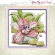 Pink daffodil flower  home painting  pattern counted or Stamped Cross-StitchDIY DMC Cross stitch,Sets For Embroidery kit