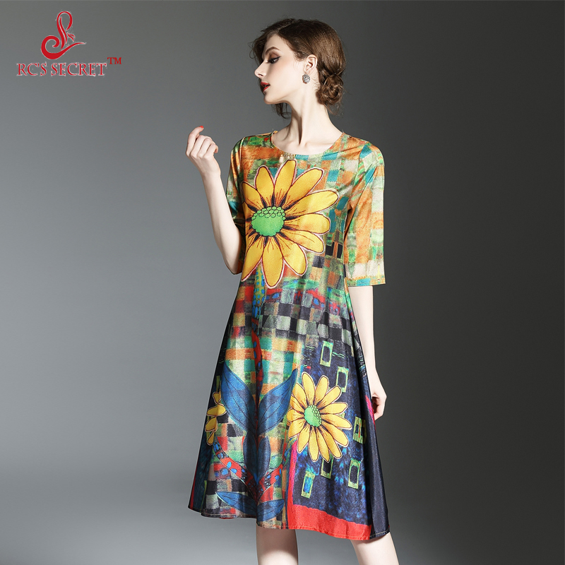 RC 'S SECRET Women Dress 2017 Spring Summer Print Silk Dress Seven Female Loose Sleeves Vintage Dresses Plus Size Women Clothing(China)