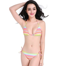 East - Southern Asia Style Rainbow Stripes Fully lined Strappy Bikini Swimwear Holiday Spa First Choice Bathing suits