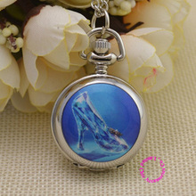 wholesale cute blue Cinderella crystal shoe pocket watch necklace ladies good lady kid silver mirror fob watches antibrittle(China)