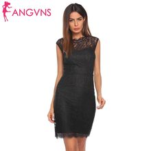 ANGVNS Women Autumn Spring Dresses 2018 NEW Fashion O-Neck Bobycon Slim  Pencil Lace Dress Vestido de encaje Robe en dentelle 5eefc2166160
