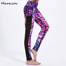 Buy Maoxzon Women's Gradient Print Fitness Slim Leggings Pants Mesh Patchwork Pocket Casual Active Workout Ioga Skinny Trousers 3XL for $16.37 in AliExpress store