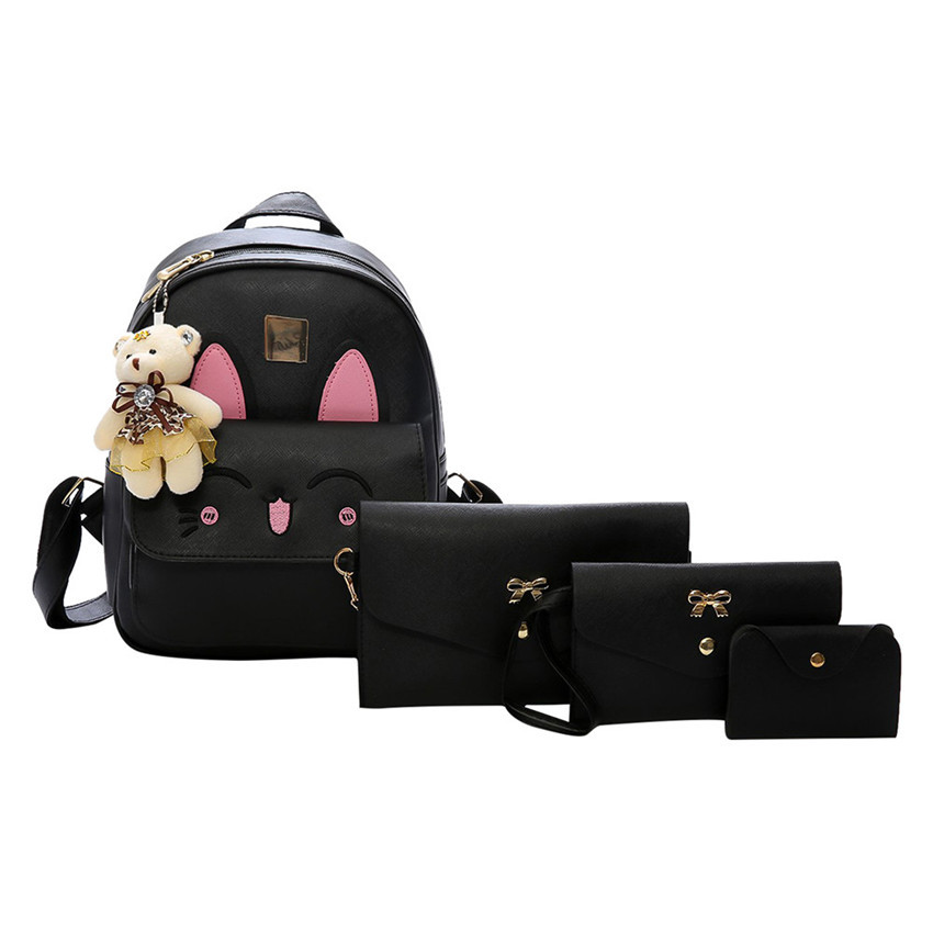 2017 New Girls PU Backpack Preppy 4 pcs/set Backpacks girl school backpack For Teenagers Student Shoulder Bag Boys Satchel<br>