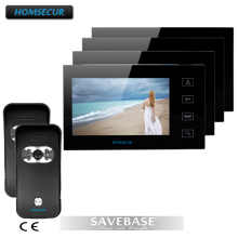 "HOMSECUR Luxury 7"" Wired Video Doorphone Intercom Home Security System With 4 LCD Monitors+ 2 Cameras"