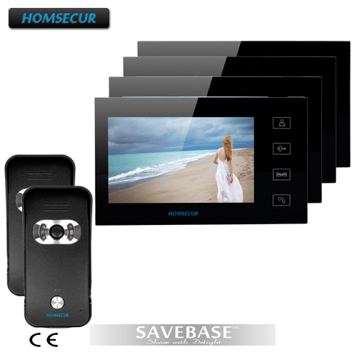 "HOMSECUR Luxury 7"" Wired Video Doorphone Intercom Home Security System With 4 LCD Monitors+ 2 Cameras(China (Mainland))"