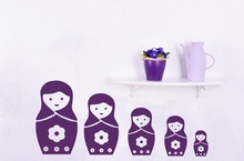 Hot Sale Lovely Russian Dolls Wall Stickers For Kids Playroom Wall Decal For Girl Bedroom Nursery Home Removable Art MuralSYY342