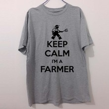 KEEP CALM I'M A FARMER Farming TRACTOR Funny T-Shirts Men Brand Clothes Casual Fashion Short Sleeve Men's T Shirt(China)