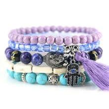 Beasivor Purple Tassel Fatima Hand Gun black Buddha Bracelets Women Ethnic style Blue Purple Stones Wrap Jewelry(China)