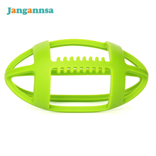 Safety Baby Teether Food Grade Silicone Bite Toys Hollow Out Rugby Teether For Boys Girls Fashion Soft Elastic Baby Chew Stick